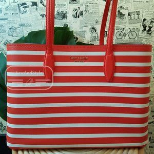 TAMARILLO ALL DAY SAILING STRIPE LARGE TOTE KATE SPADE BRAND NEW OPEN TOTE